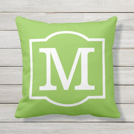 Monogrammed lime green and white throw pillow zazzle for Green and white throw pillows