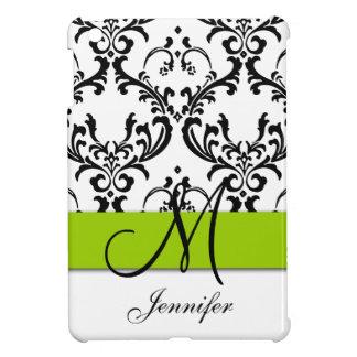 Monogrammed Lime Green Black White Swirls Damask Case For The iPad Mini