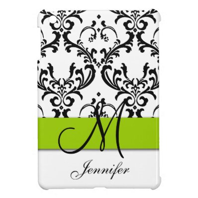 Monogrammed Lime Green Black White Swirls Damask Case For The iPad Mini