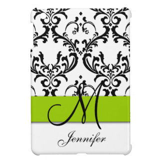 Monogrammed Lime Green Black White Swirls Damask iPad Mini Cover