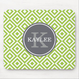 Monogrammed Lime Green Geometric Diamond Pattern Mouse Pad