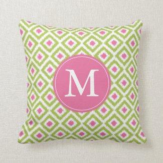 Monogrammed Lime Green Pink Diamonds Ikat Pattern Throw Pillow