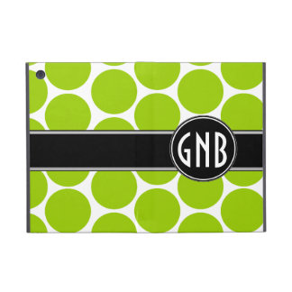 MONOGRAMMED LIME GREEN POLKA DOTS PATTERN iPad MINI COVER