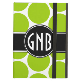 MONOGRAMMED LIME GREEN POLKA DOTS PATTERN iPad COVER