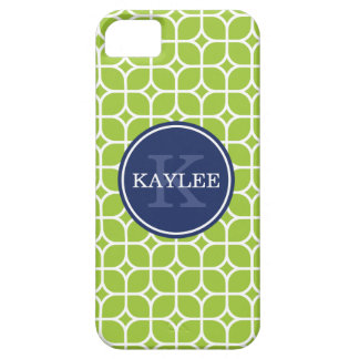 Monogrammed Lime Green Square Petal Pattern iPhone 5 Case