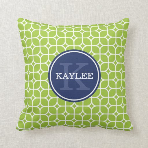 Monogrammed Lime Green Square Petal Pattern Pillows