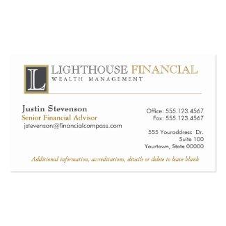 Monogrammed Logo Financial Advisor Business Card