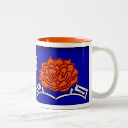 Monogrammed Lotus Blossom - Blue, Red, Silver Coffee Mug