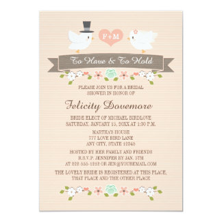 Monogrammed Love Birds Bridal Shower Invitation