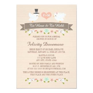 Monogrammed Love Birds Bridal Shower Invitation