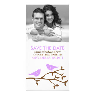 Monogrammed Love Birds Save the Date Photo Card