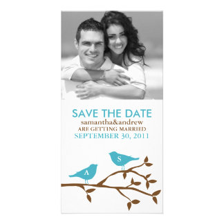 Monogrammed Love Birds Save the Date Photocards Personalized Photo Card