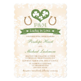 Monogrammed Lucky in Love Shamrock Wedding Card