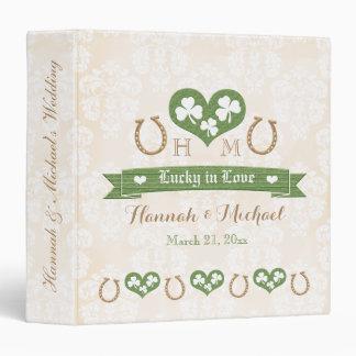 Monogrammed Lucky in Love Shamrock Wedding Planner 3 Ring Binder