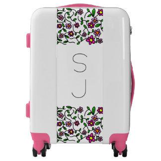 Monogrammed luggage trolley floral sketch