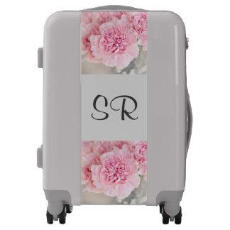 Monogrammed luggage trolley gray pink flowers