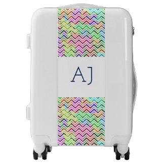 Monogrammed luggage trolley – Multicolor chevron