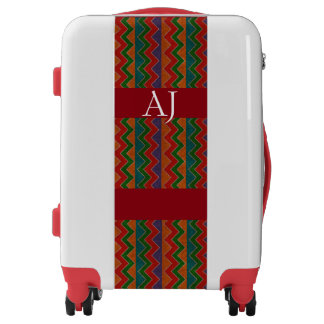 Monogrammed luggage trolley multicolor chevron red