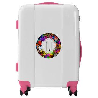 Monogrammed luggage trolley pretty floral wreath