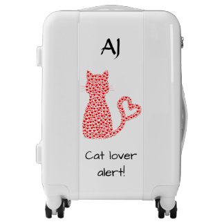 Monogrammed luggage trolley red hearts cat