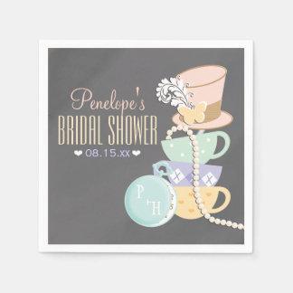 Monogrammed Mad Hatter Bridal Shower Paper Napkin
