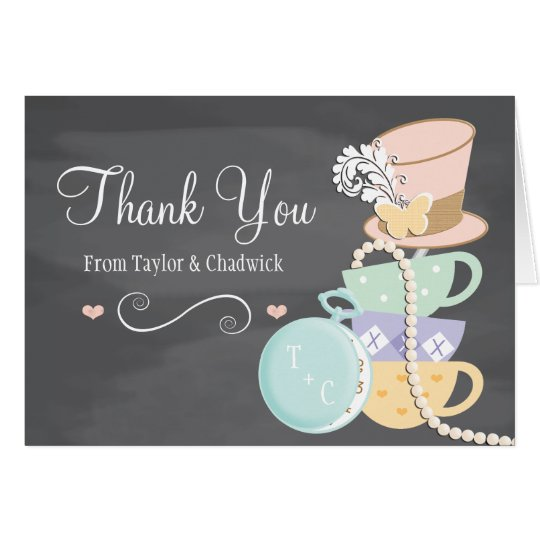 MONOGRAMMED MAD HATTER WEDDING THANK YOU CARD – Monogram Wedding Thank You Cards