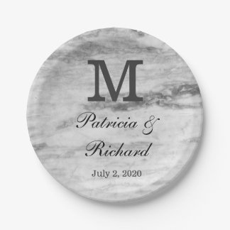 Monogrammed Marble Pattern Wedding Reception Paper Plate