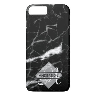 Monogrammed Marble Phone Case Black Personalized