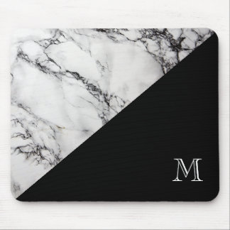 Monogrammed Marble Stone Texture Black And White Mouse Pad