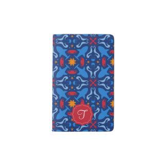 Monogrammed marine life blue pattern pocket moleskine notebook