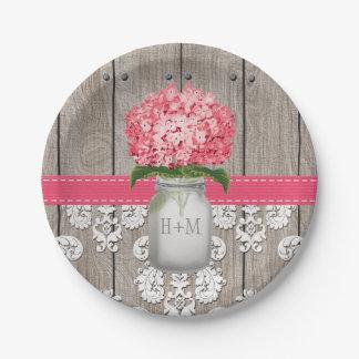 Monogrammed Mason Bright Pink Hydrangea Wedding Paper Plate