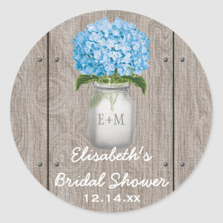 Monogrammed Mason Jar Blue Hydrangea Bridal Shower Classic Round Sticker