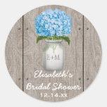 Monogrammed Mason Jar Blue Hydrangea Bridal Shower Classic Round Sticker
