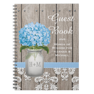 Monogrammed Mason Jar Blue Hydrangea Guest Book
