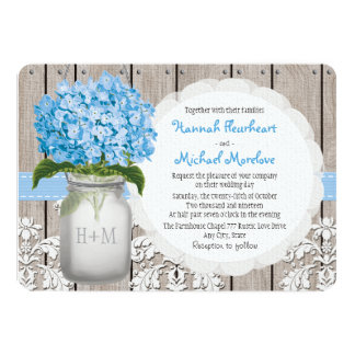Monogrammed Mason Jar Blue Hydrangea Wedding Card
