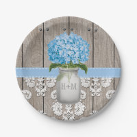 Monogrammed Mason Jar Blue Hydrangea Wedding Paper Plate