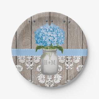Monogrammed Mason Jar Blue Hydrangea Wedding Paper Plate at Zazzle