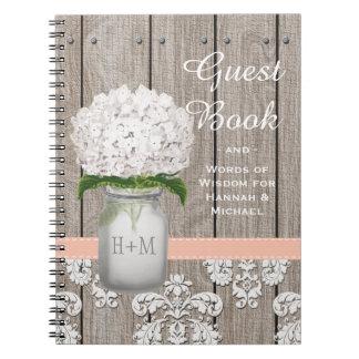 Monogrammed Mason Jar Coral Hydrangea Guest Book Spiral Note Books