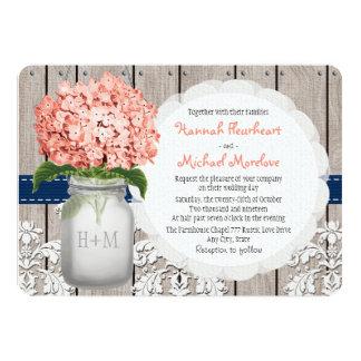 Monogrammed Mason Jar Coral Navy Hydrangea Wedding Card
