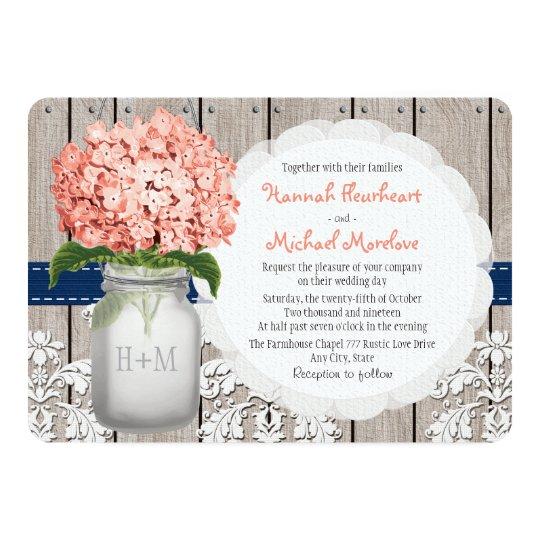 monogrammed mason jar coral navy hydrangea wedding invitation