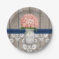 Monogrammed Mason Jar Coral Navy Hydrangea Wedding Paper Plate