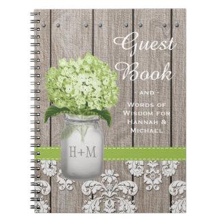 Monogrammed Mason Jar Green Hydrangea Guest Book Spiral Notebook