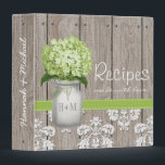 "Monogrammed Mason Jar Green Hydrangea Recipe Binder<br><div class=""desc"">The rustic and pretty green hydrangea and mason jar recipe book can be personalized with a couple's initials and own wording on the front and spine of the binder. Designed by Chrissy H. Studios,  LLC. All rights reserved.</div>"