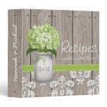 Monogrammed Mason Jar Green Hydrangea Recipe Binder<br><div class='desc'>The rustic and pretty green hydrangea and mason jar recipe book can be personalized with a couple&#39;s initials and own wording on the front and spine of the binder. Designed by Chrissy H. Studios,  LLC. All rights reserved.</div>