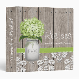 Monogrammed Mason Jar Green Hydrangea Recipe Binder
