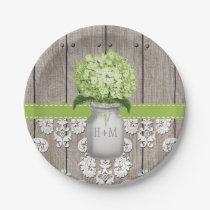 Monogrammed Mason Jar Green Hydrangea Wedding Paper Plate