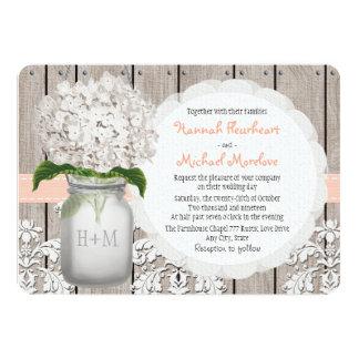 Monogrammed Mason Jar Peach Hydrangea Wedding 5x7 Paper Invitation Card