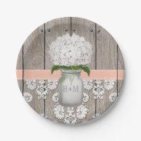 Monogrammed Mason Jar Peach Hydrangea Wedding Paper Plate