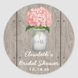 Monogrammed Mason Jar Pink Hydrangea Bridal Shower Classic Round Sticker at Zazzle