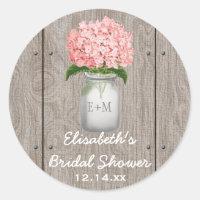 Monogrammed Mason Jar Pink Hydrangea Bridal Shower Classic Round Sticker